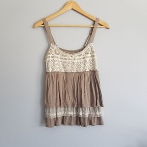 American Eagle Outfitters Tan Lace Tank Top